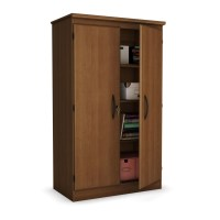 Cherry 2-Door Storage Cabinet Wardrobe Armoire for Bedroom ...