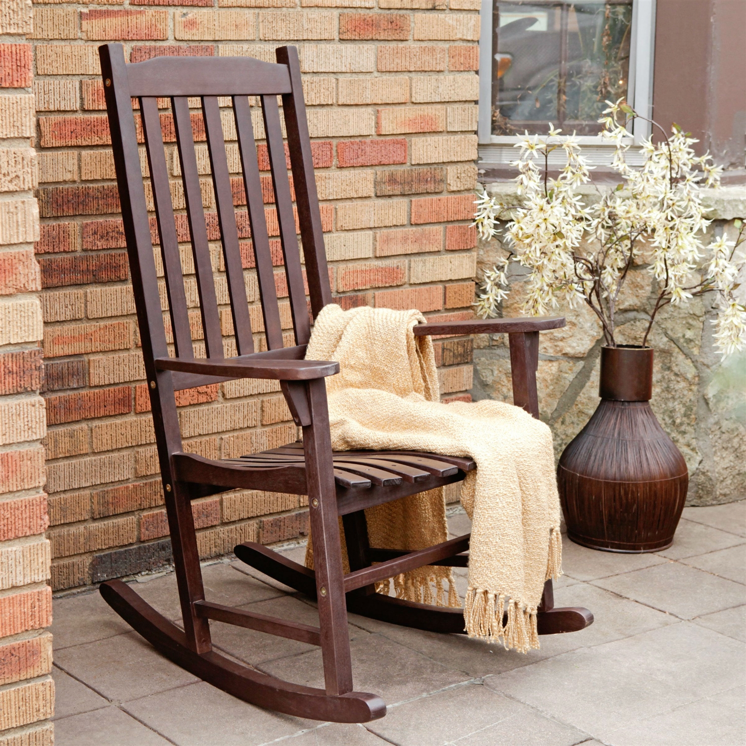 patio furniture rocking chair accent and ottoman canada indoor outdoor dark brown slat