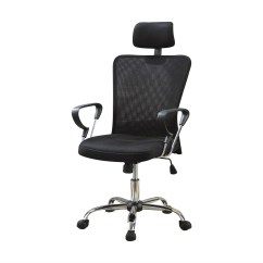 Executive Mesh Office Chair Mat For High Pile Carpet Back Computer With Headrest In Black