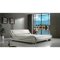 Queen Modern White Upholstered Platform Bed with Curved ...