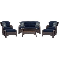 Wicker Patio Chair Cushions Beige Accent Canada Outdoor 6 Piece Resin Furniture Lounge Set With Navy Blue Seat Fastfurnishings Com