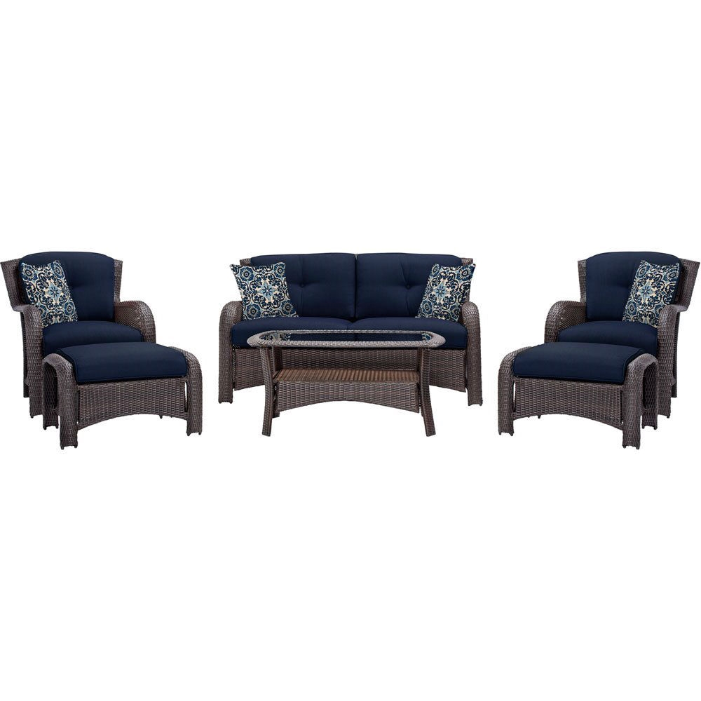 outdoor 6 piece resin wicker patio furniture lounge set with navy blue cushions