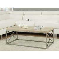 Modern Rectangular Coffee Table with Natural Wood Top and ...