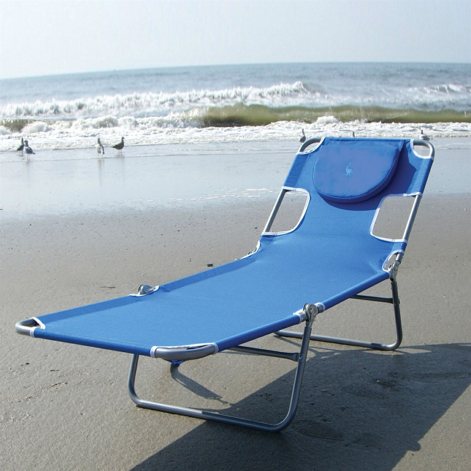 Beach Lounger Chair Blue Chaise Lounge Beach Chair With Rustproof Steel Frame