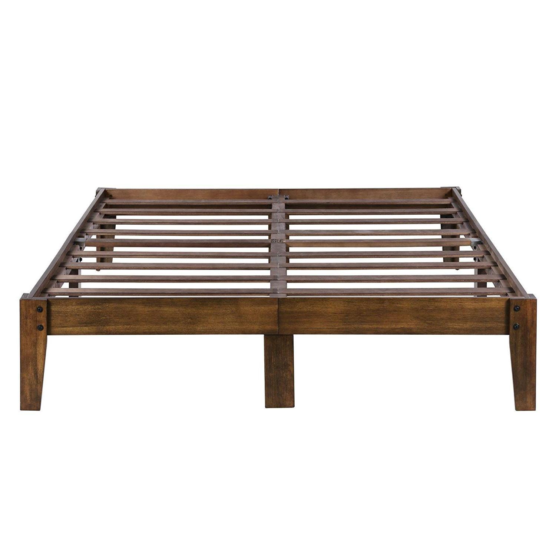 Full Size Solid Wood Platform Bed Frame In Brown Natural Finish Fastfurnishings Com