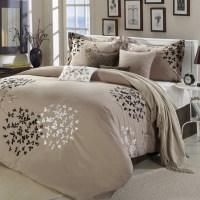 Queen size 8-Piece Comforter Set in Light Brown Black Tan ...