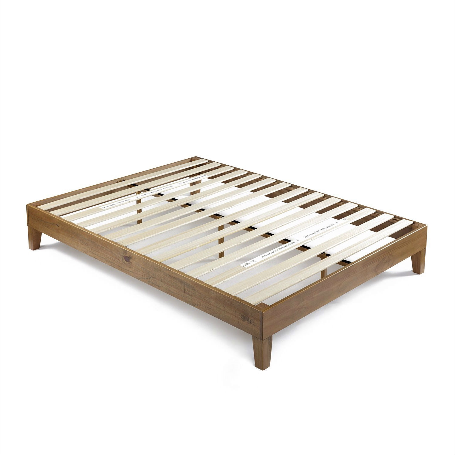 queen size solid wood modern platform bed frame in rustic pine finish