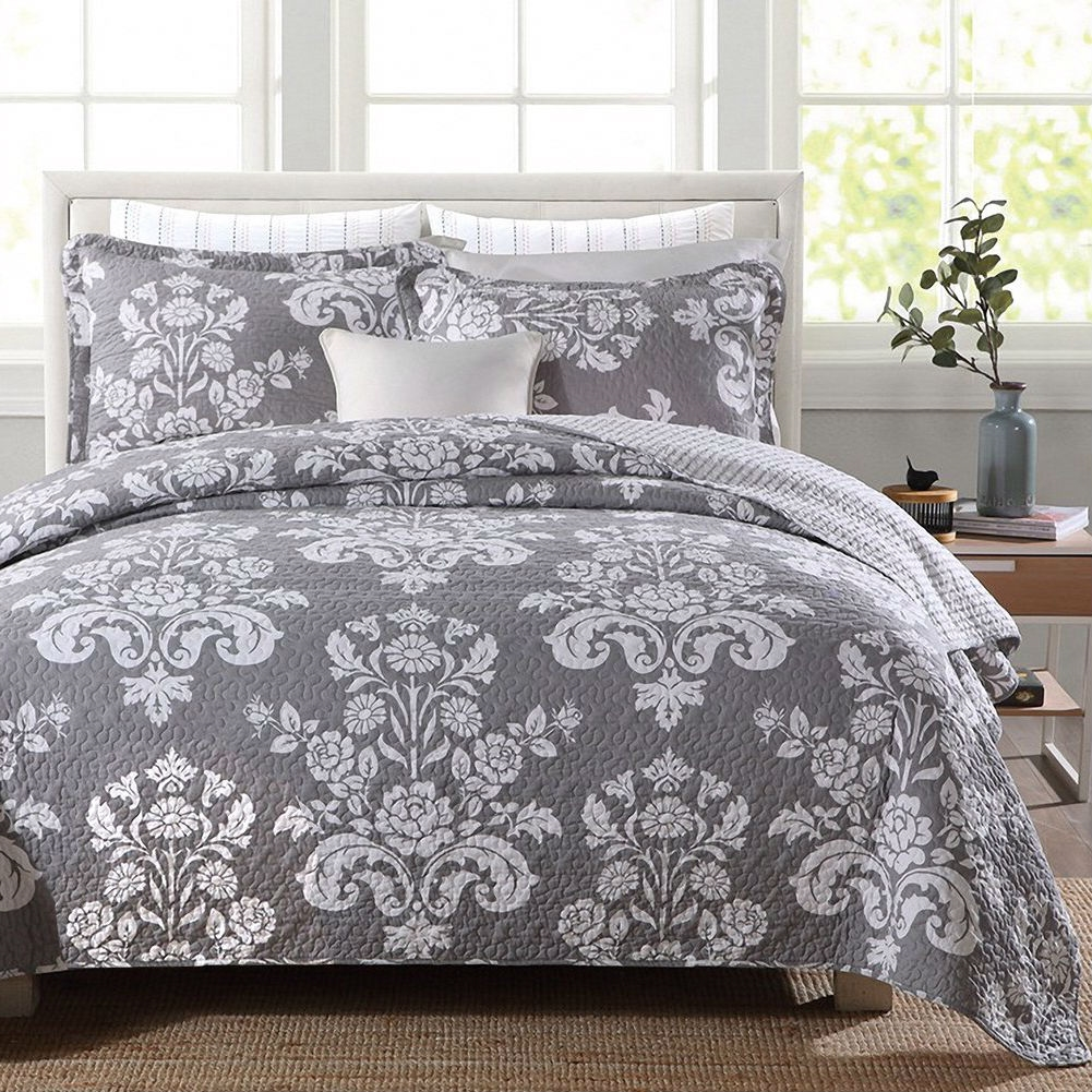 queen 3 piece cotton quilt bedspread set with grey white floral pattern