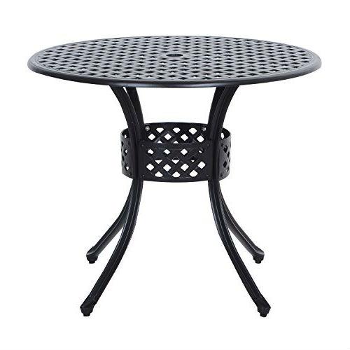 round metal 33 inch outdoor patio table in black cast aluminum