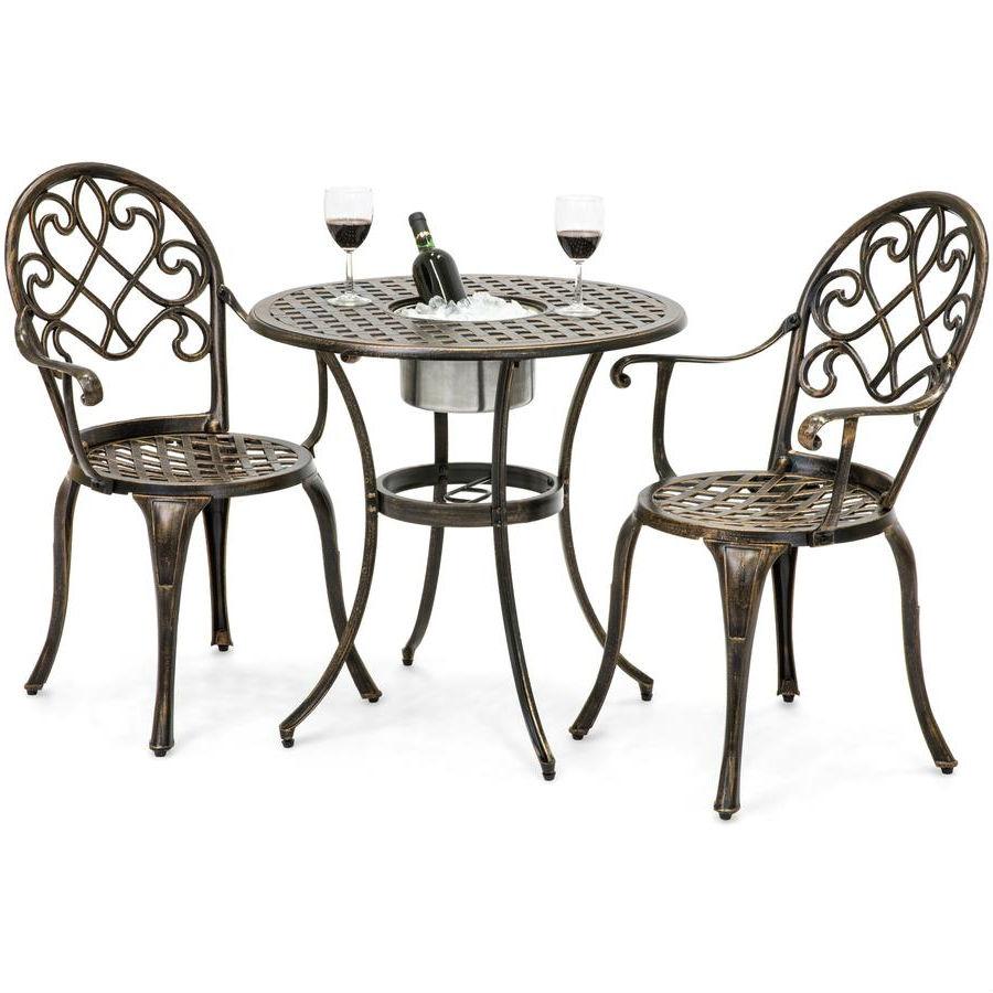 outdoor 3 piece patio furniture bistro set in antique copper finish