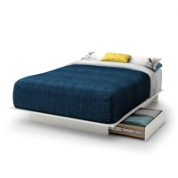 Full size White Modern Platform Bed Frame with 2 Storage ...