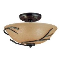 Round 12-inch Semi Flush Mount Ceiling Light with Twig ...