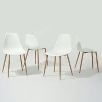 Set of 4 Modern Mid Century Style Dining Chairs in White ...