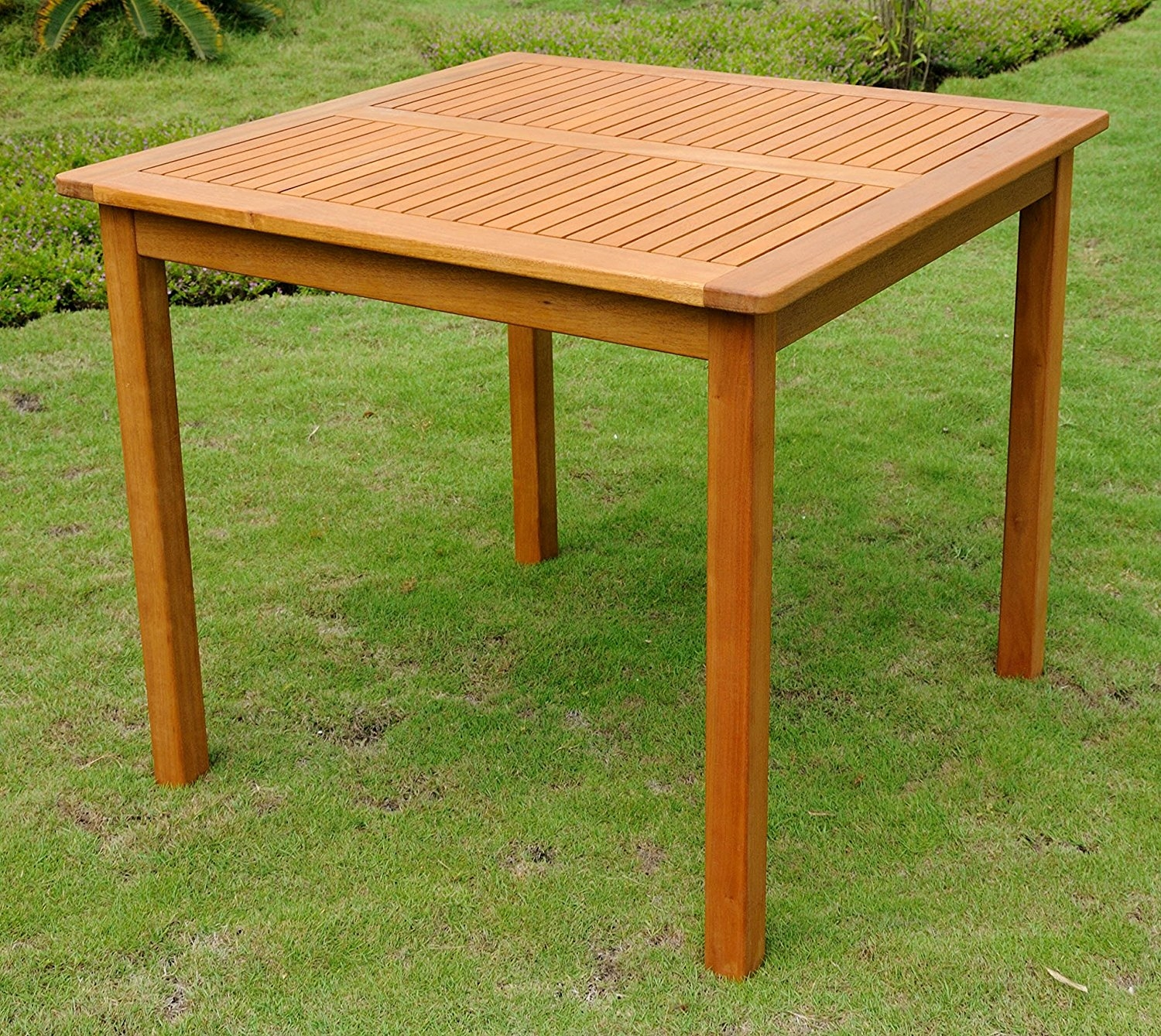 square 32 inch outdoor wood patio dining table