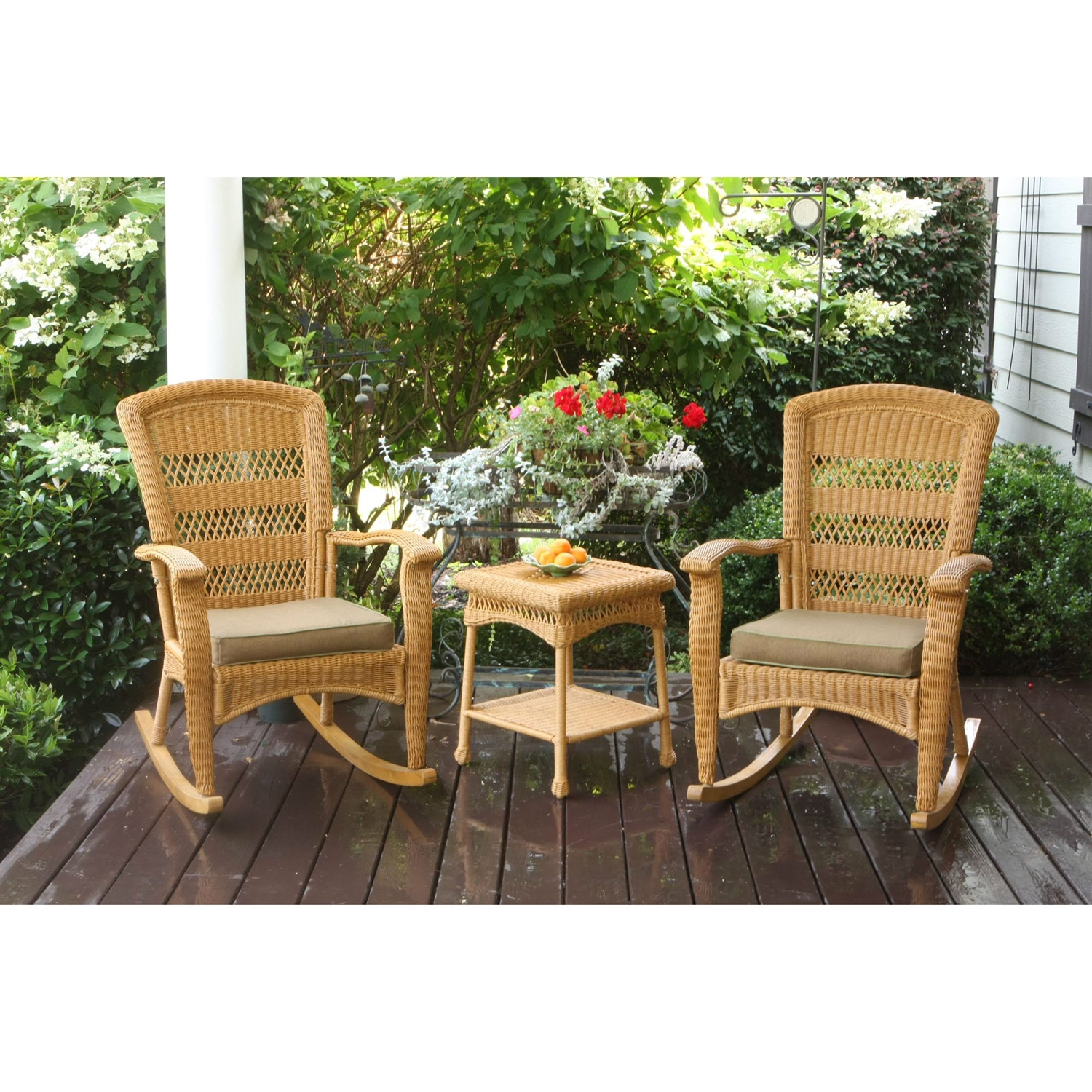 3pc Outdoor Porch Rocker Set With 2 Amber Wicker Resin