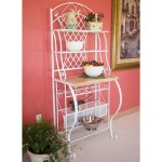 White Metal Bakers Rack With 5 Bottle Wine Rack And Wooden Work Shelf Fastfurnishings Com