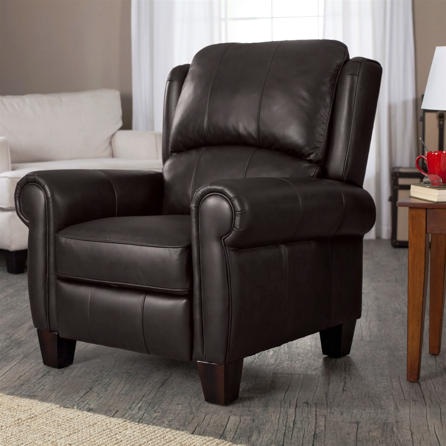 Wingback Recliner Chair High Quality Top Grain Leather Upholstered Wingback Recliner Club Chair In Chocolate Brown