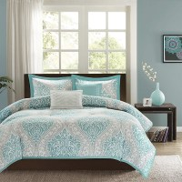 Twin / Twin XL Comforter Set in Light Blue White Grey ...