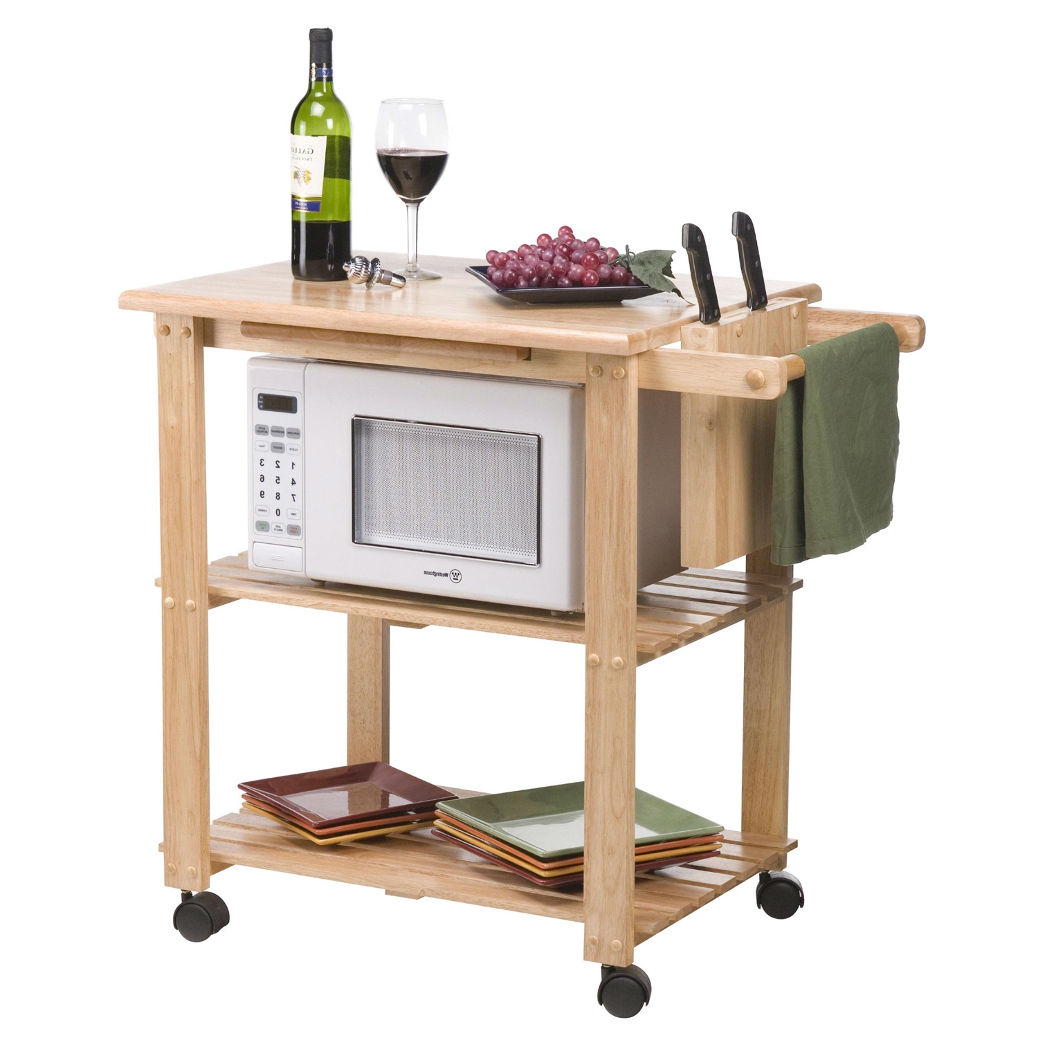 wooden kitchen cart cabinets miami solid wood utility microwave with pull out cutting board fastfurnishings com