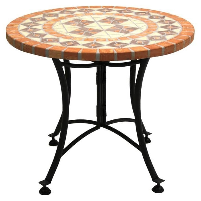 24 inch round bistro style mosaic terracotta tile outdoor patio table