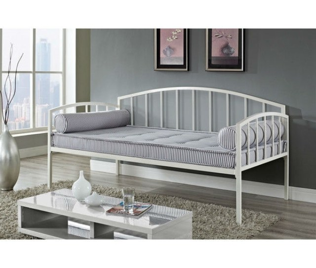 Twin Size White Metal Day Bed Frame 600 Lb Weight Limit Fastfurnishings Com