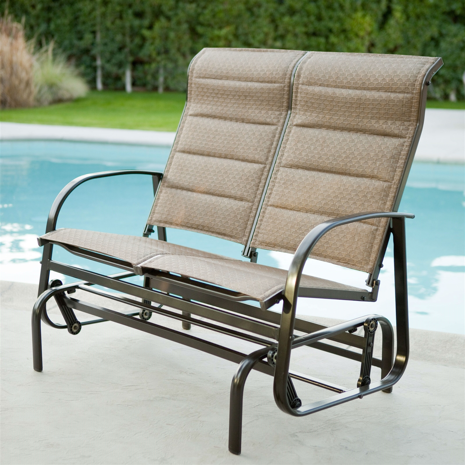 Weatherproof Adirondack Chairs Weatherproof Outdoor Loveseat Glider Chair With Padded Sling Seats In Bronze