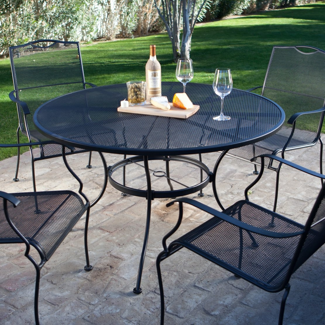 porch table and chair set bad back chairs for home 5 piece wrought iron patio furniture dining seats 4