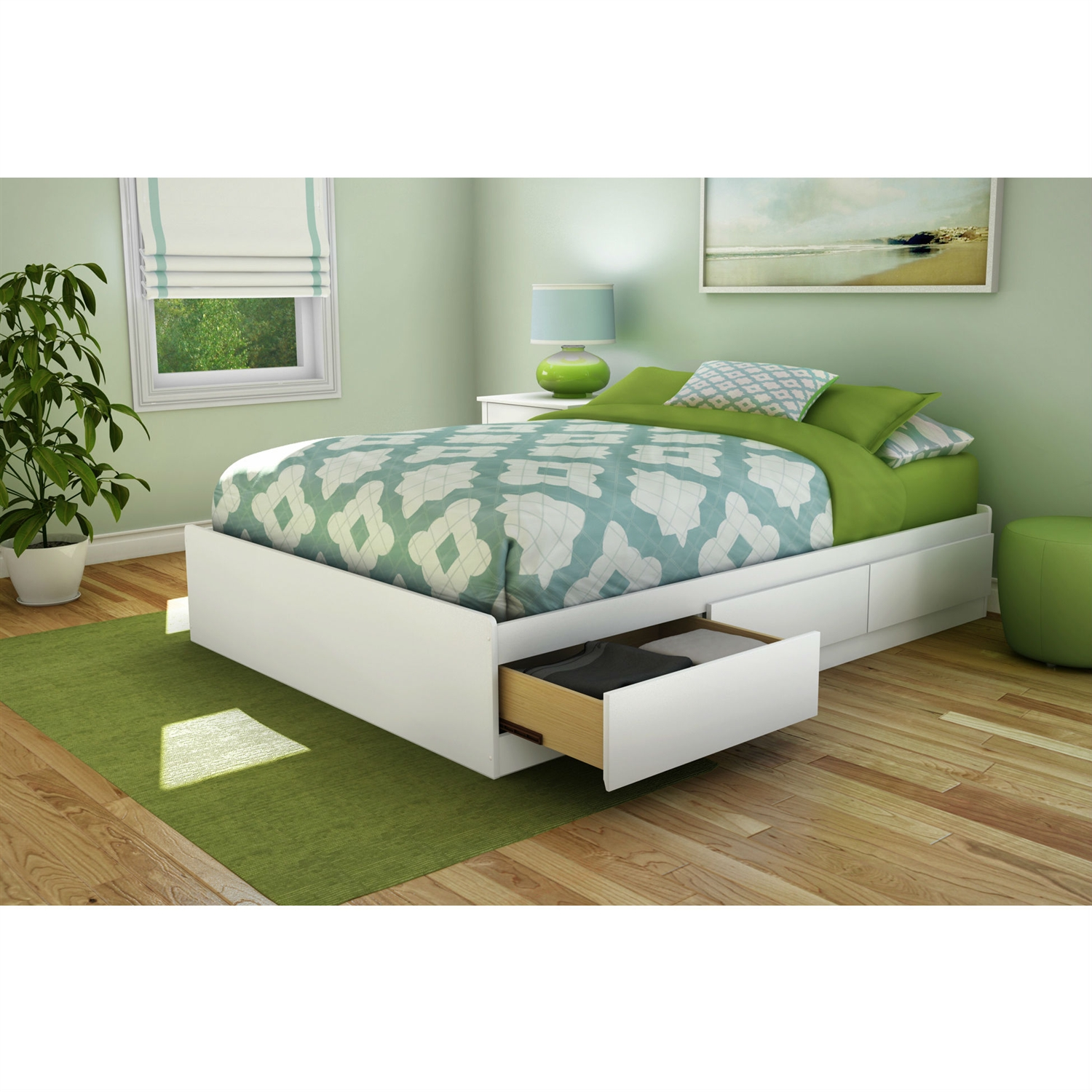 Full Size Contemporary Platform Bed With 3 Storage Drawers In White Fastfurnishings Com