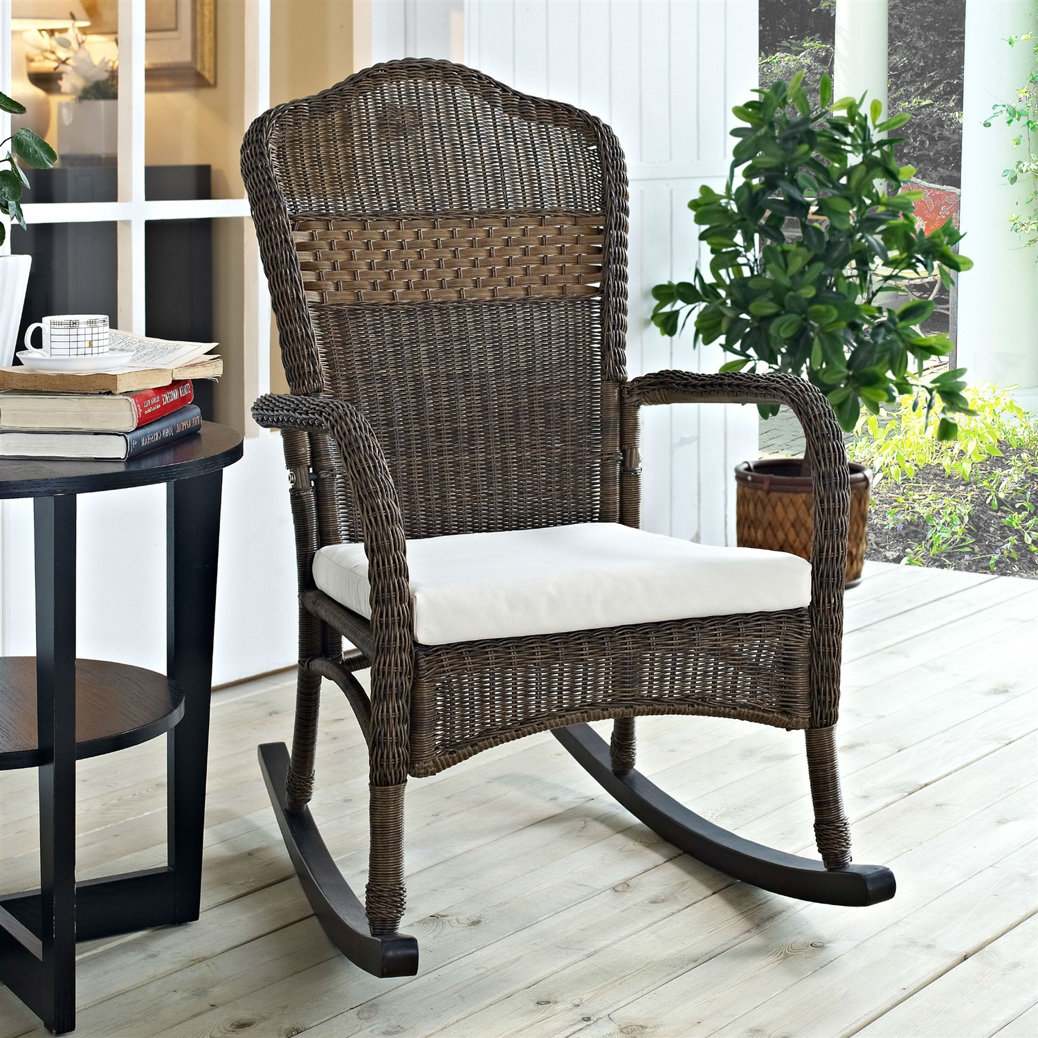 Wicker Rocking Chair Indoor Outdoor Patio Porch Mocha Wicker Rocking Chair With Beige Cushion
