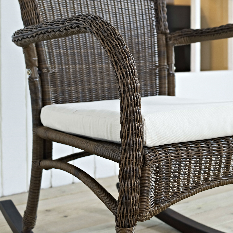 IndoorOutdoor Patio Porch Mocha Wicker Rocking Chair with