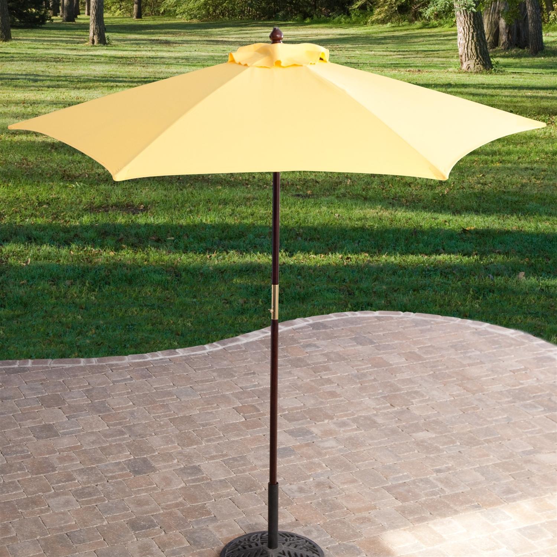 yellow 7 5 ft patio umbrella with dark mahogany stained pole