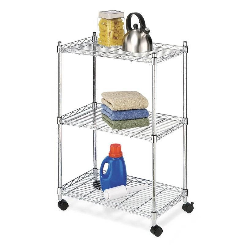 kitchen cart on wheels commercial equipment 3 tier metal for microwave bathroom garage