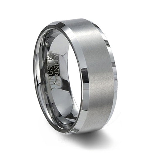 Brushed Tungsten Wedding Band & Beveled Edges