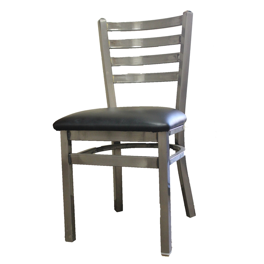 steel vinyl chair reclining cover metal with ladder back and black seat restaurant oak street sl135c
