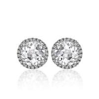 Diamond Halo Earrings Diamond Halo Earrings In White Gold ...