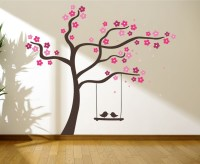 Tree with love birds on a swing wall graphics, wall