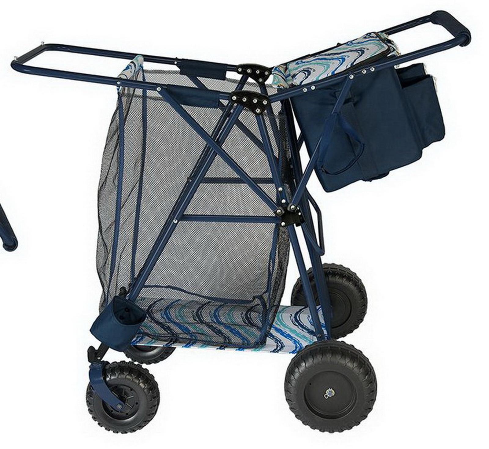 Big Folding Beach Cart  Portable Cooler Shopping Gear Transport Wagon