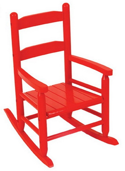 bedroom rocking chair office wont stay up new kids wooden 2 slat red childrens wood rocker furniture