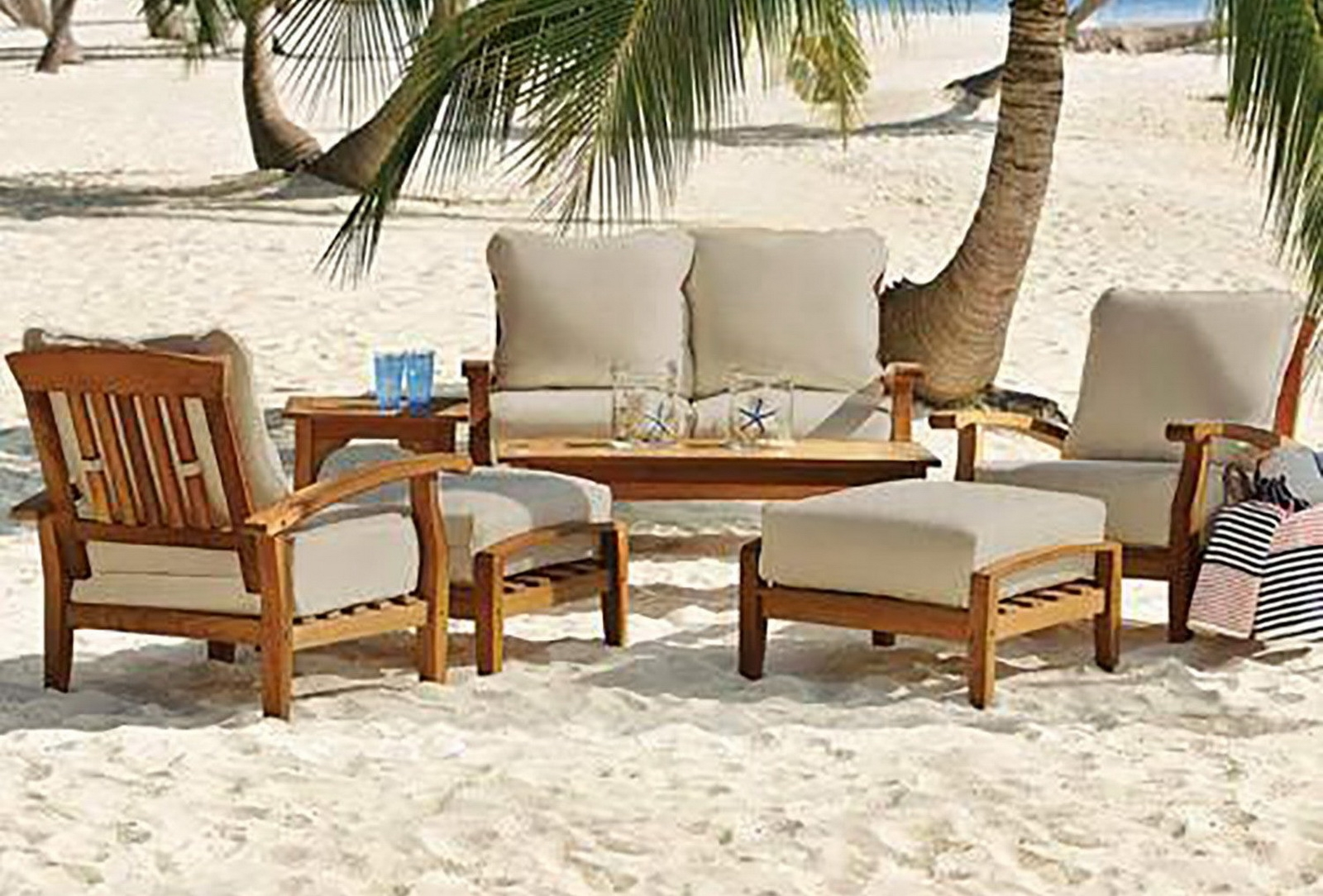 teak table and chairs garden baby bathtub ring seat chair 7 piece wood outdoor patio seating set furniture white cushions
