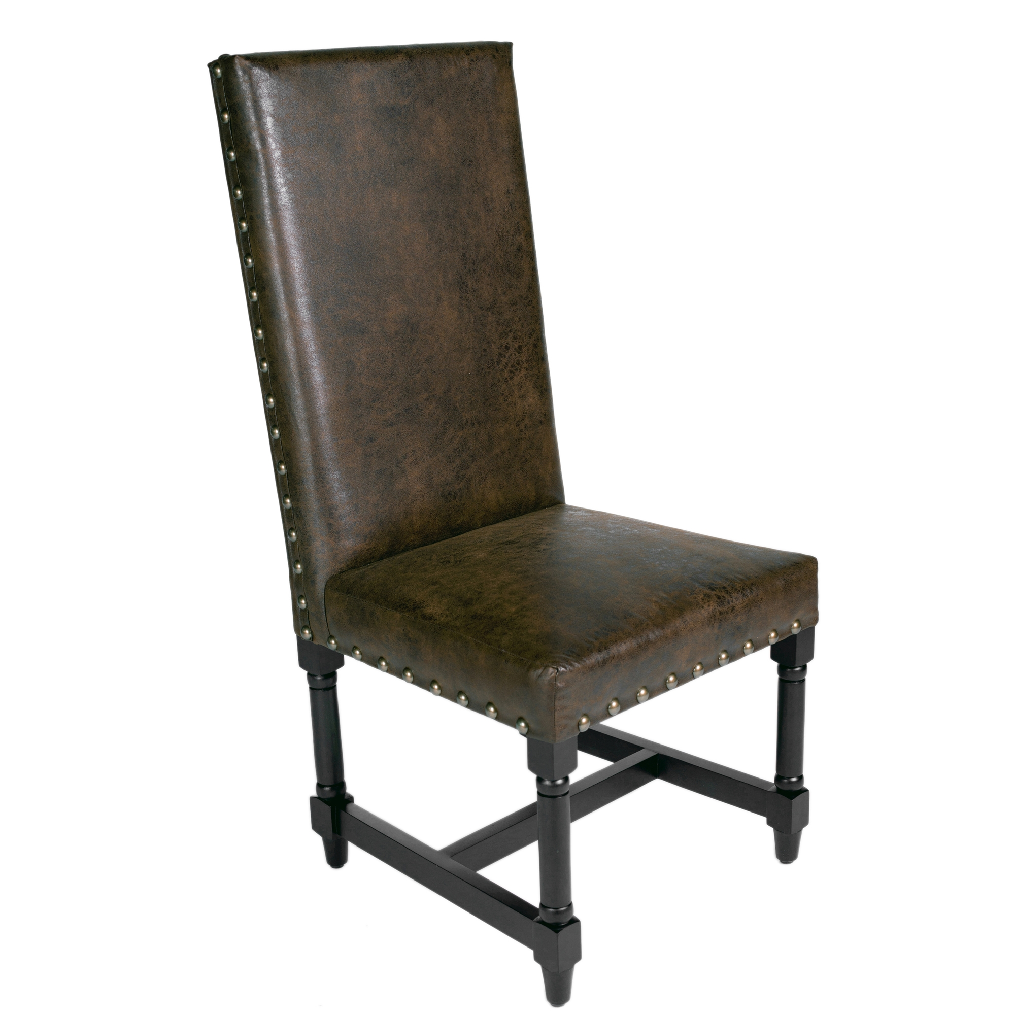 brown leather high back dining chairs folding floor chair uk with nail heads