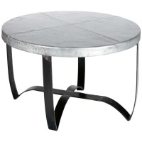 Round Iron Strap Coffee Table with Hammered Zinc Top