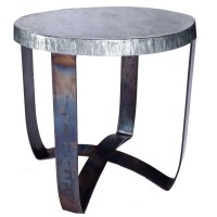 Round Iron Strap End Table with Hammered Zinc Top