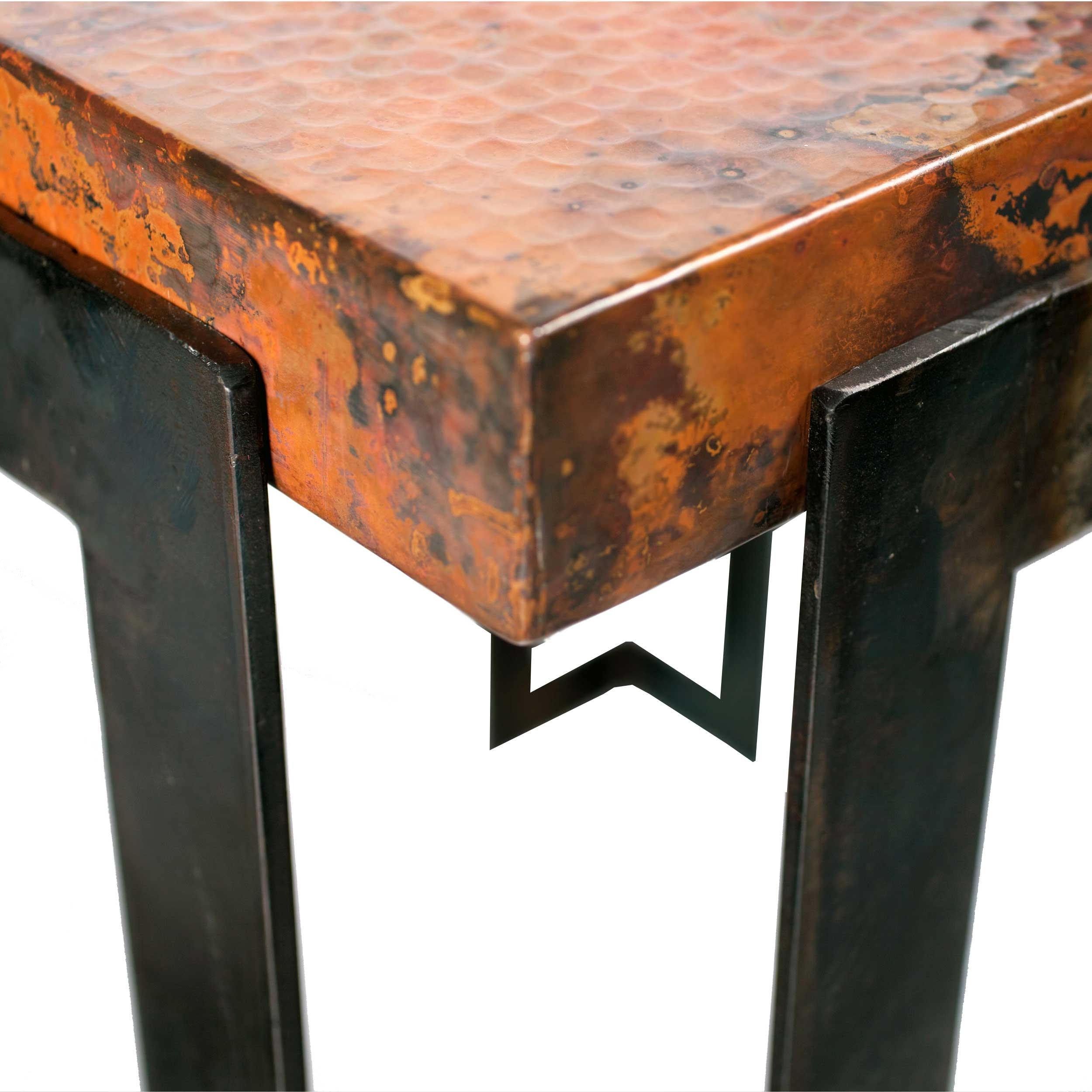 Hammered Copper Top Dining Table