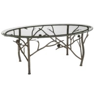 Wrought Iron Rustic Pine Oval Coffee Table by Stone County