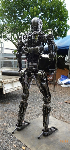 Terminator sculpture hand made from recycled scrap metal