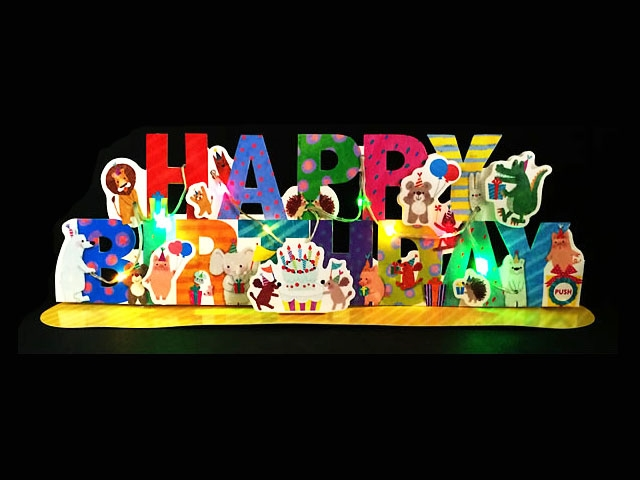 Happy Birthday Animal Party Garland Lights And Melody Pop