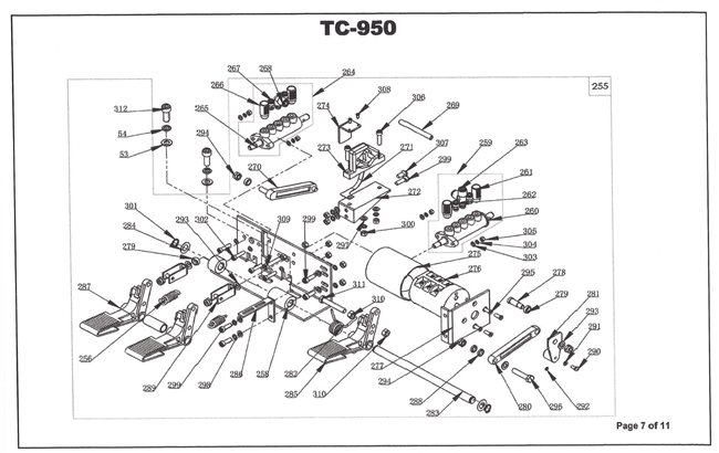TC950 Parts Breakdown  Red Machine Diagrams of Wheel Service Equipment and their parts | North