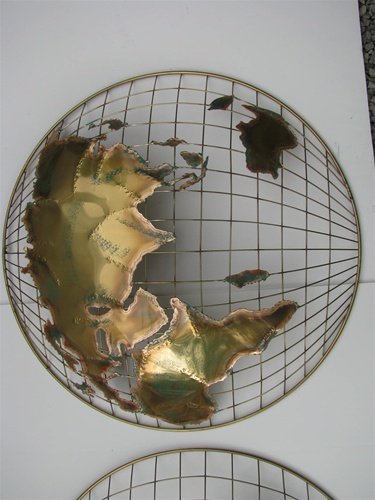 C Curtis Jere Vintage Double Globe Wall Art Signed | iltribuno.com