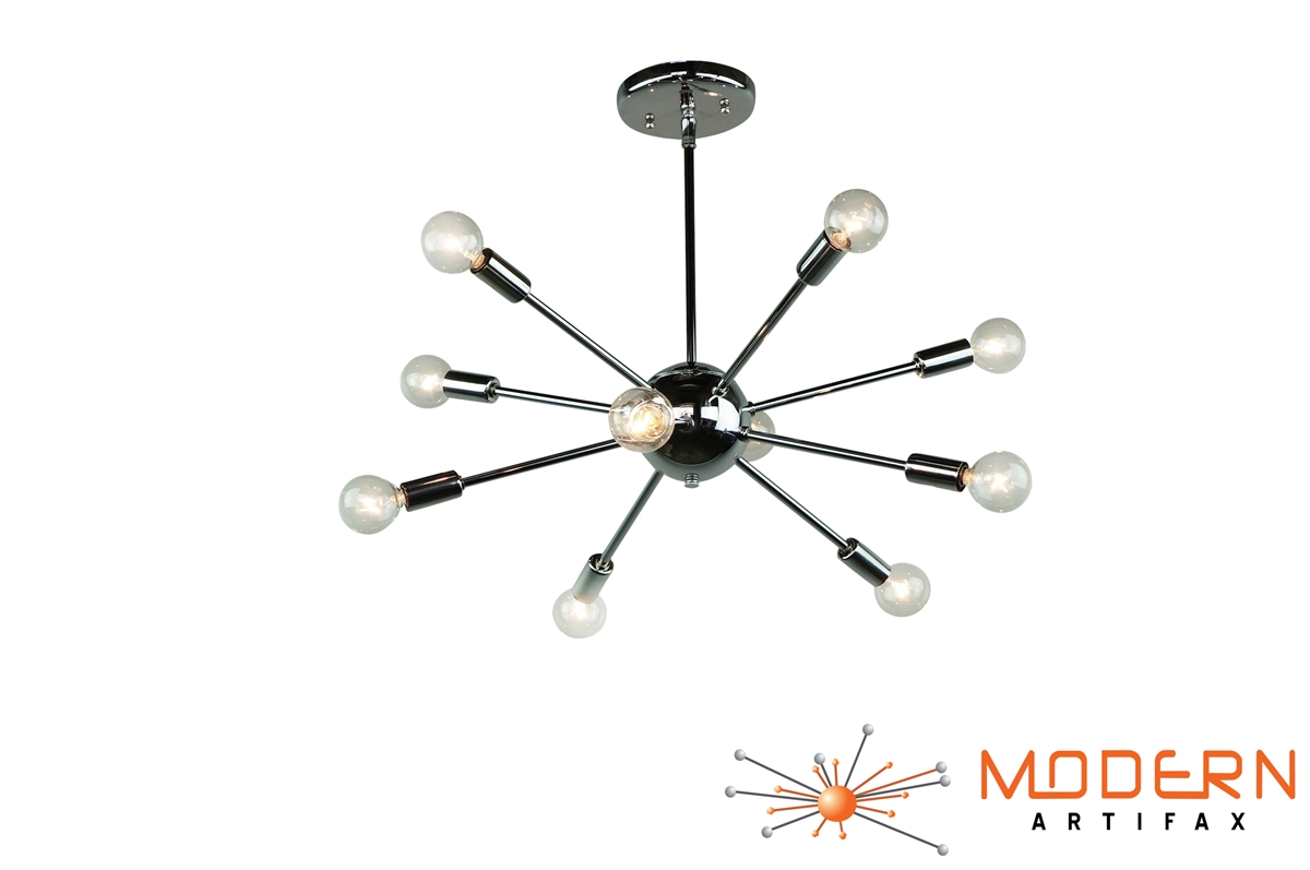 Chrome Sputnik Chandelier 20 In Diameter With 10 Arms