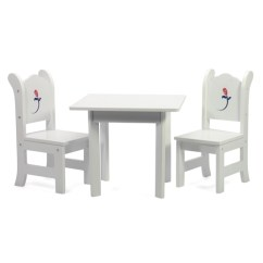 18 Doll Table And Chairs Best Reclining Garden Uk Inch Furniture White With Rose Graphic Shop Emily